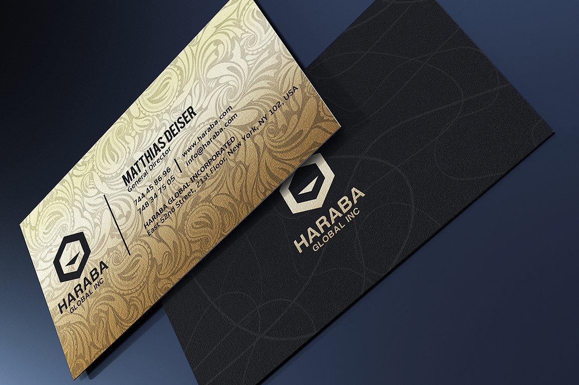 Biglietto da visita elegante nero e oro 2