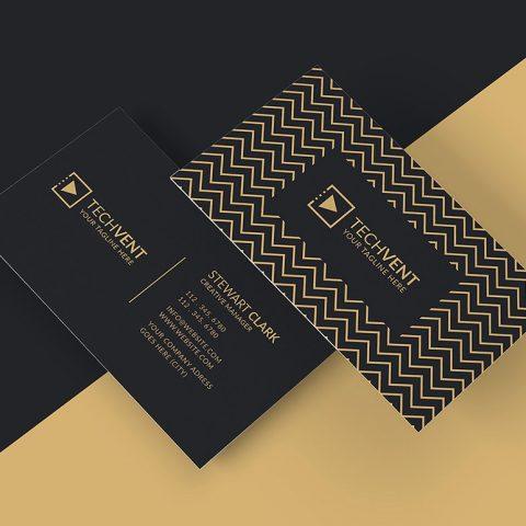 Biglietto da visita scuro con linee geometriche 1