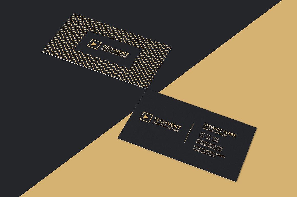 Biglietto da visita scuro con linee geometriche 4