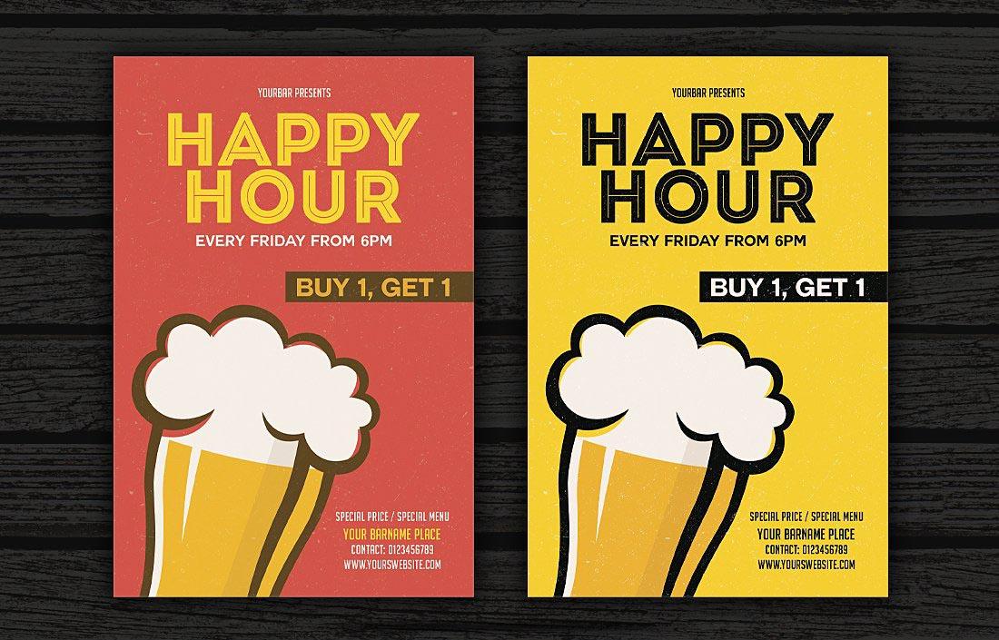 Volantino promozionale happy hour stile fumetto