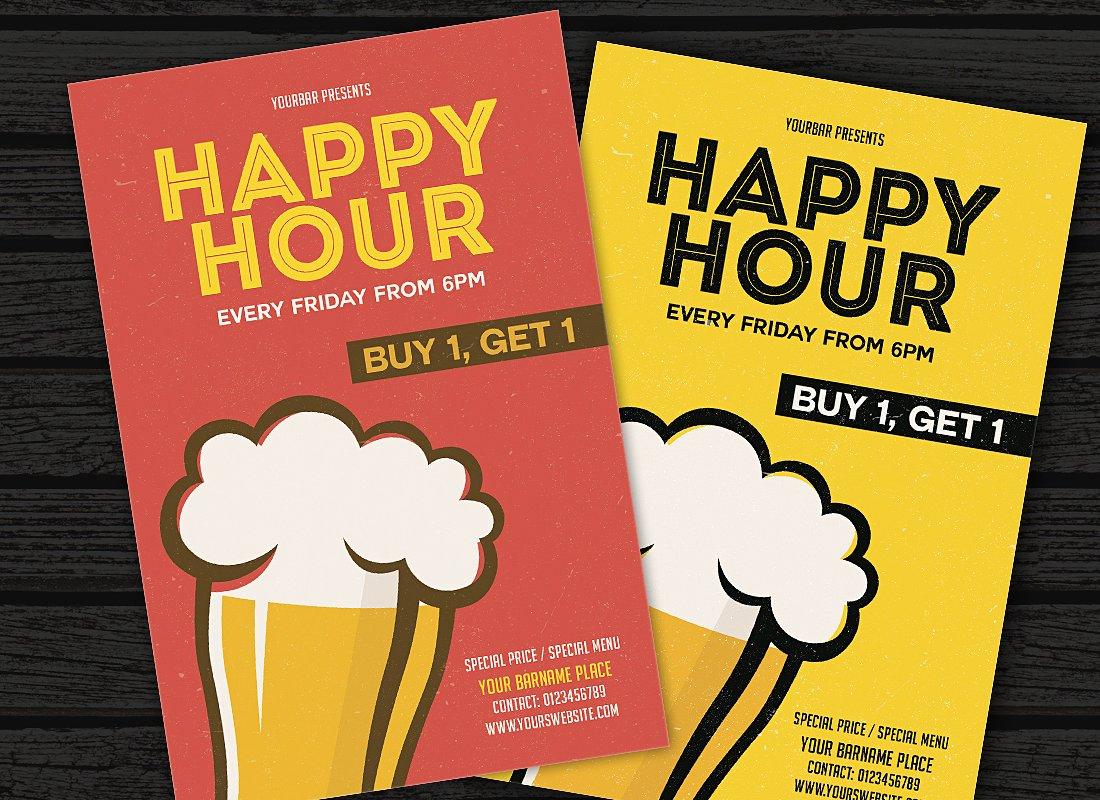 Volantino promozionale happy hour stile fumetto 2