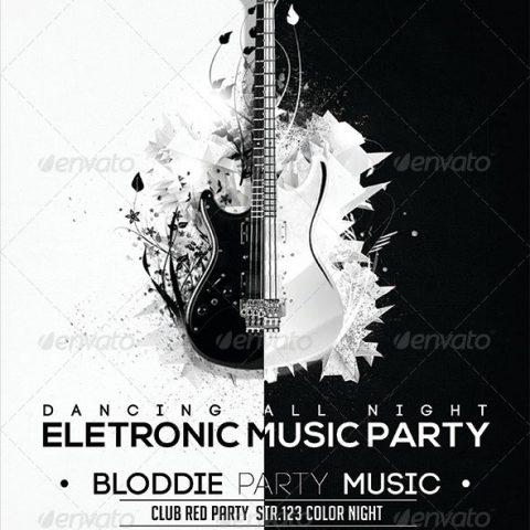 Volantino bianco e nero per evento musicale