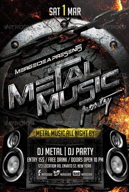 Volantino per evento musicale heavy metal