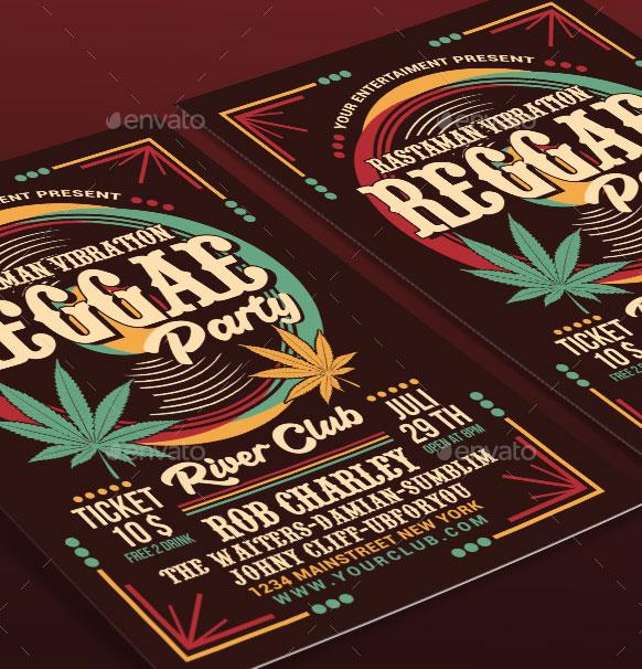 Volantino per evento musicale reggae party 2