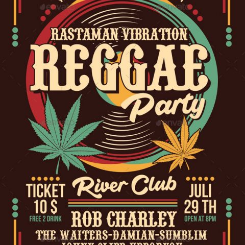 Volantino per evento musicale reggae party