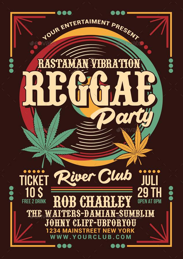 Volantino per evento musicale reggae party