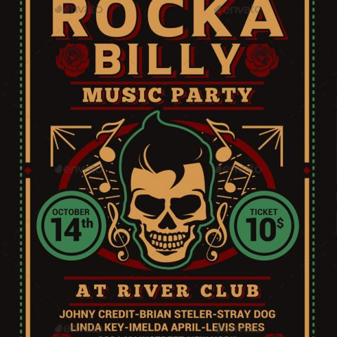 Volantino per evento musicale rock party