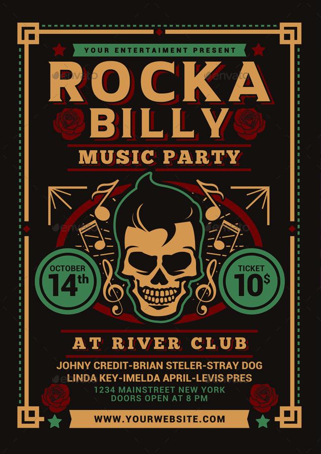Volantino per evento musicale rock party