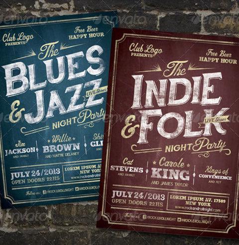 Volantino-vintage-per-serata-musicale-rock-jazz-indie-folk2