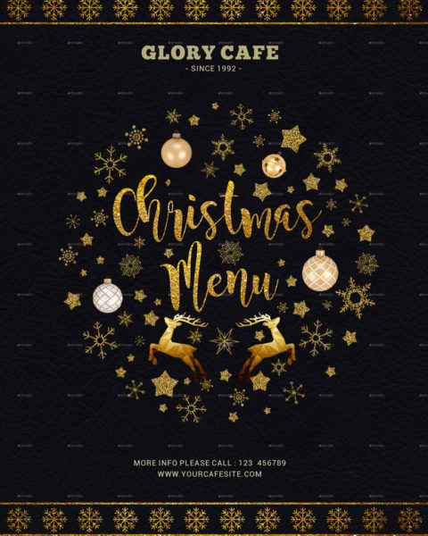 Menù di Natale nero e oro 1