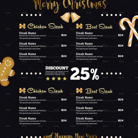 Menù di Natale nero e oro 2