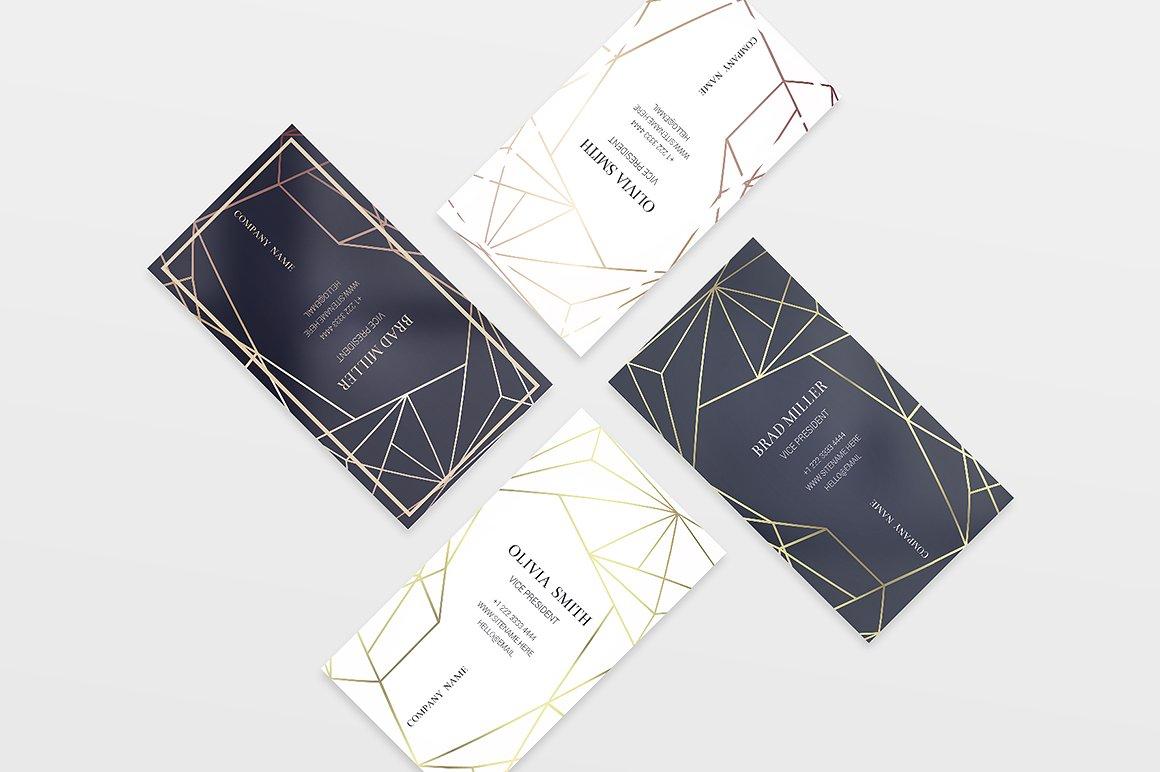 Biglietto da visita elegante con linee geometriche-4