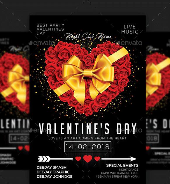 Flyer per promozione evento San Valentino