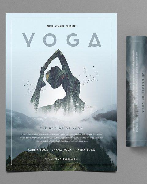 Flyer volantino illustrato per servi legati al mondo dello yoga-3