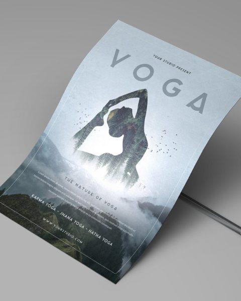 Flyer volantino illustrato per servizi legati al mondo dello yoga