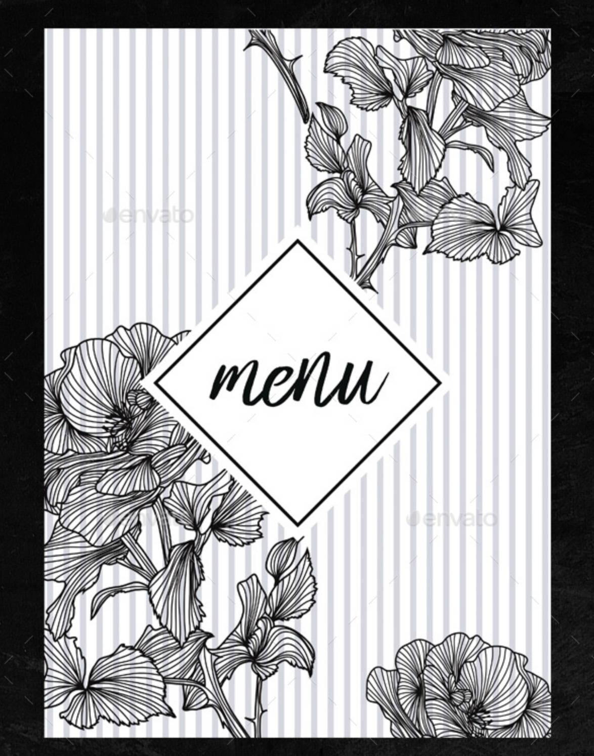 Menù floreale per ristorante pub-2