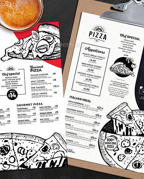 Menù per pizzeria