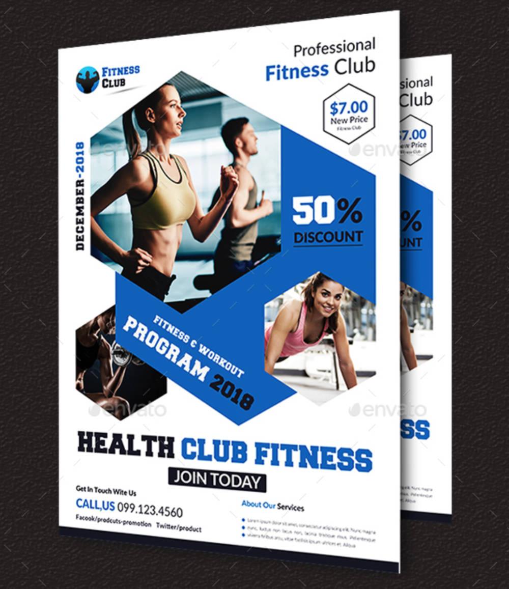 Poster fitness con elementi esagonali-3