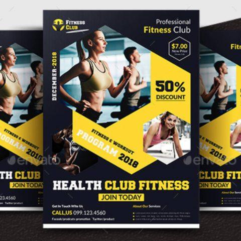 Poster fitness con elementi esagonali