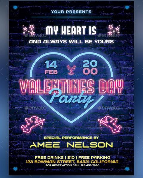 Volantino effetto neon San Valentino