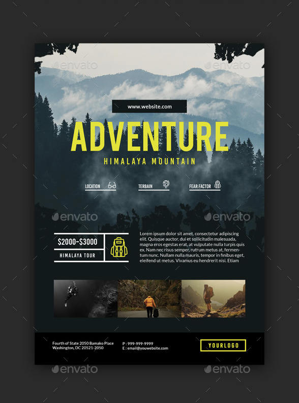 Volantino per promuovere un evento escursionistico