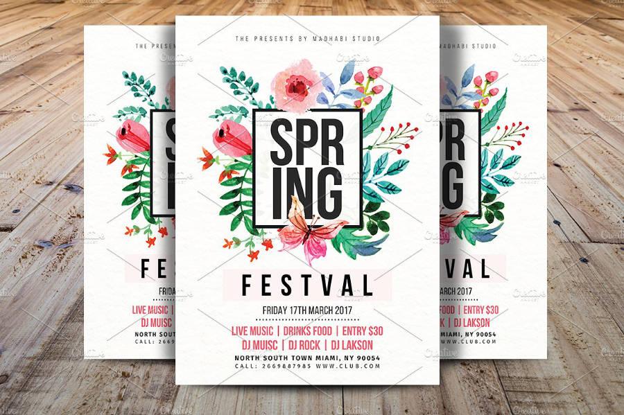 Flyer di primavera con motivo floreale 2