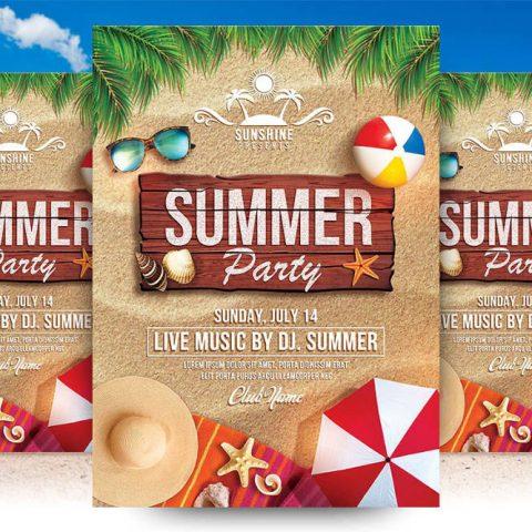 Flyer festa in spiaggia