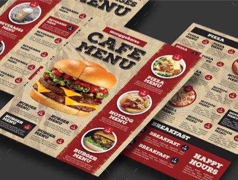 Menù per pub hamburgeria