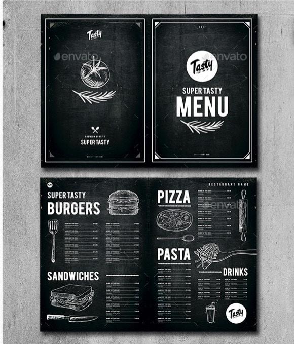 Menù per pub pizzeria ristorante
