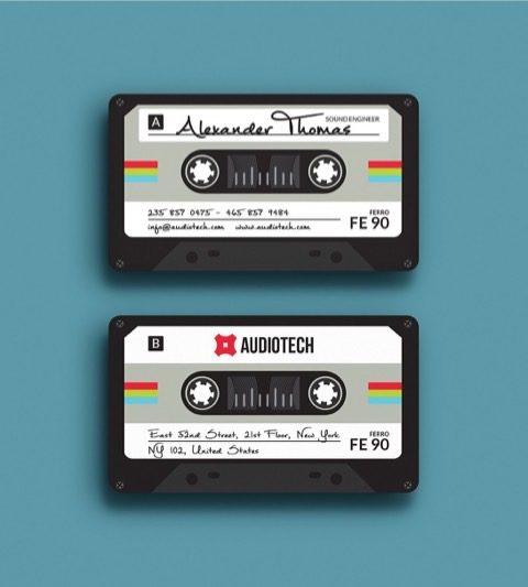 Biglietto da visita musicassetta anni 80